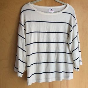 Sundry cream sweater with navy stripes 3/4 sleeves